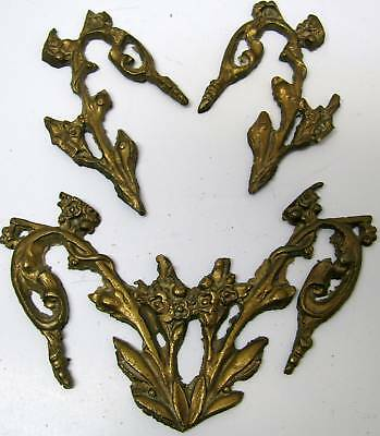 Lot 3 Antique French Vintage Brass Trim Pediment Pieces for Victorian Furniture