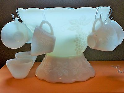 Anchor Hocking Glass Vintage Punch Bowl Set w/Base, 16 cups, Milk White