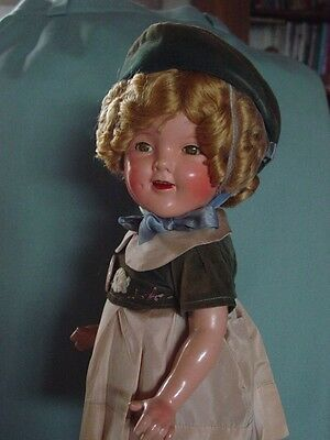 IDEAL, USED, COMPOSITION, VINTAGE MINT SHIRLEY TEMPLE DOLL IN EASTER COSTUME!