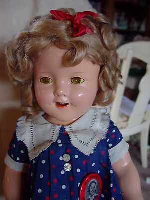 """IDEAL USED VINTAGE COMPOSITION SHIRLEY TEMPLE DOLL IN """"BABY TAKE A BOW"""" DRESS!EC"""