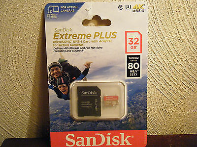 SanDisk Extreme PLUS 32GB microSDHC UHS-I Card w/Adapter (For Action Cameras)NEW