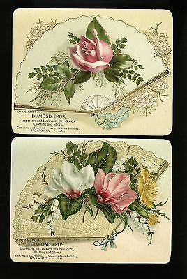 Set of 2 Large Los Angeles Trade Cards Diamond Bros Dry Goods Shoes