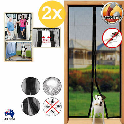 2x Instant Mesh Screen Door Magnetic Hands Free Bug Mosquito Fly Pet Patio Net
