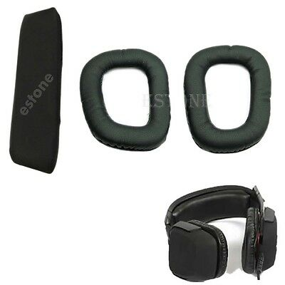 Replacement Headband Cushion Pad Ear Pads For Logitech G35 G930 Headphone Black
