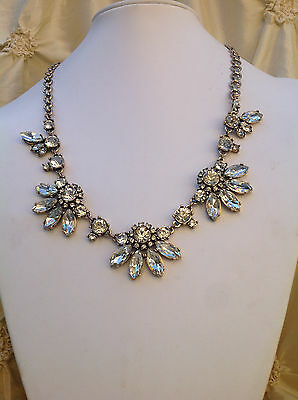 J. Crew Clear Crystal Fan Cluster  Long Necklace New