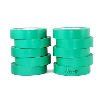 "TapesSupply 10 Rolls Pack Green Electrical Tape 3/4"" x 66 ft"