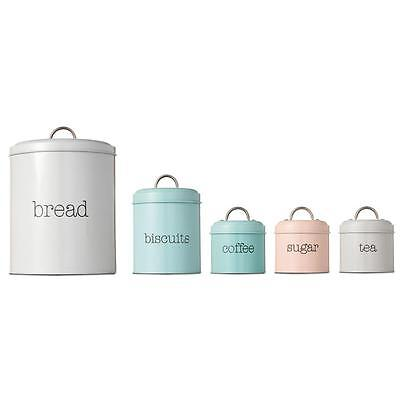 5 Round Stainless Steel Canister Tea Coffee Sugar Biscuits Bread Tin Canisters