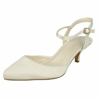 Ladies Anne Michelle Ivory Satin Wedding Shoes Style - F9752