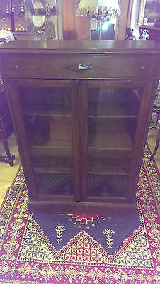 Beautiful dark wooden Cabinet with glass doors - JPS