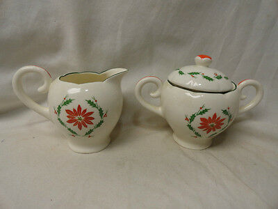 Old Napco Japan Christmas Creamer & Sugar c/ Lid Set Poinsettia Trim Art Noveau