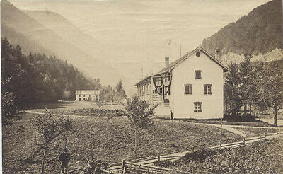Original Vintage Albumen Photo Of Beautiful Large House Surrounded By Mountains