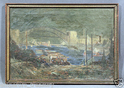 Early 20th Century Landscape of Arching Bridge Impressionism Oil Painting