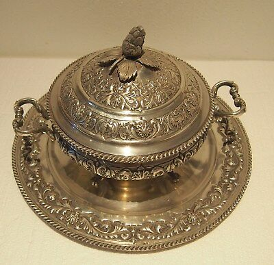 PURTUGESE  925  SILVER  FINE 3Pc TUREEN WITH MATCHING TOP & TRAY -94.265 TOZ
