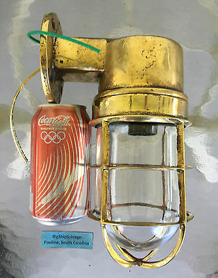 Solid Brass Vintage Marine Nautical Wall Mounted Light - ALL NEW USA WIRING