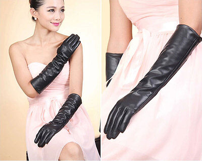 Women Warmer Opera Evening Party Long Pu Leather Over Elbow Arm Wrist Gloves UK