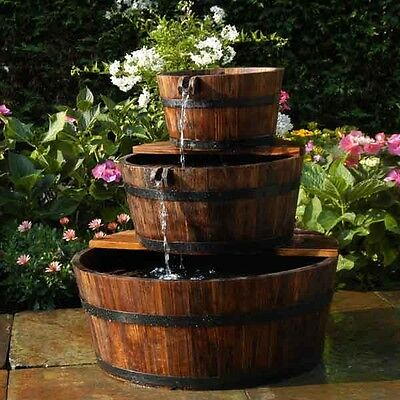 Edinburgh Wooden Barrel Water Feature with Liner and Pump