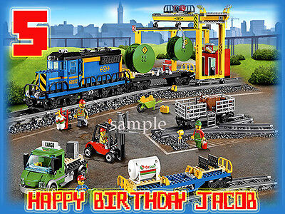 TRAIN Edible ICING Image Birthday CAKE Decoration Topper Lego City FREE SHIPPING