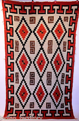 "Navajo Indian Crystal Rug with Diamond Motifs c.1900 51"" x 87 1/2"""