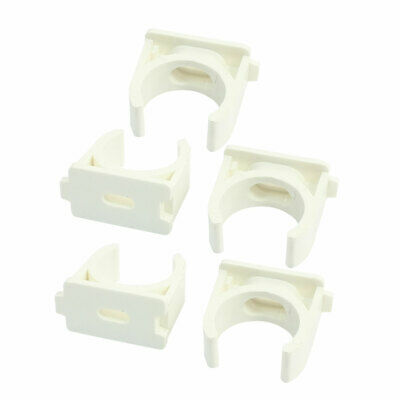 25mm Dia Snap-in Push-Fit Type White PVC-U Open Pipe Clips Fittings 5Pcs