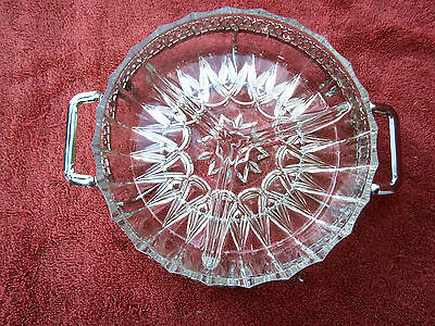 Beautiful  Divided  Cut  Glass  Lolly  Bowl  In  Stainless  Steel  Frame