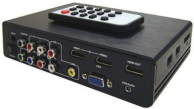 All-In-1 HDMI RCA VGA Component A/V To HDMI Scaler Switcher USB Media Player