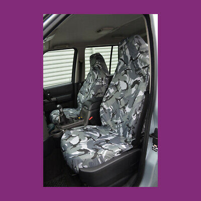 Land Rover Discovery 3 & 4 Front Grey Camo Waterproof Tailored Seat Covers NA