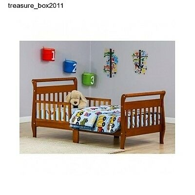 Toddler Bed Pecan Sleigh Dream On Me Kids Bedroom Furniture Safety Rail Wood
