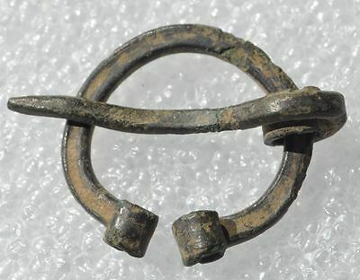 9-10th Cen Antique Viking Small Size Childrens Bronze Pennanular Brooch Fibula
