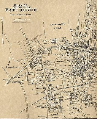 Patchogue NY 1888 Maps with Homeowners Names Shown
