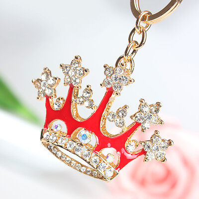 Red King Crown Fashion Charm Rhinestone Crystal Purse Bag Key Ring Chain Gift