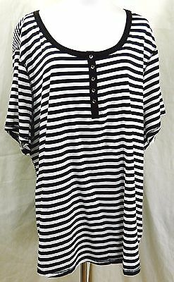 c37de7c501f0b Faded Glory Women Plus Size 4X 26W - 28W Striped Black White T Shirt Tee Top