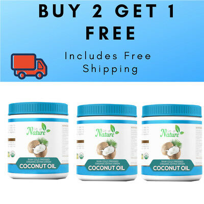 BUY 2 GET 1 FREE - 3 x 1ltr Extra Virgin Coconut Oil, 100% Organic Raw