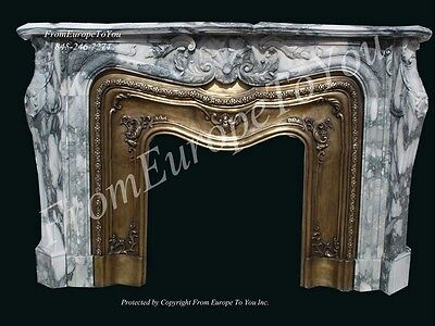 Beautiful Hand Carved Marble And Brass Fireplace Mantel #fpm109