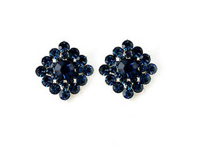 VintageStyle Square Navy Blue Swarovski Crystal Elements Titanium Post Earrings