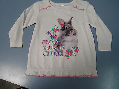 Baby Girls White Long Sleeved Top With Pink Bow & Bunny Rabbit Size 00