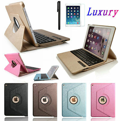 Luxury 360 Rotating Leather Folio Case with Bluetooth Keyboard For iPad Air 2/1