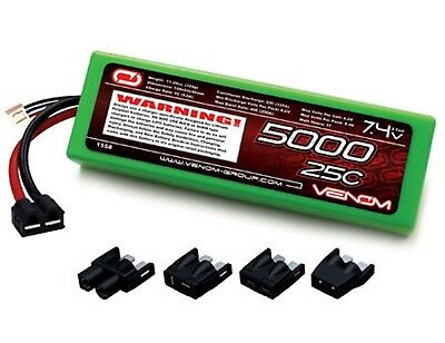 New Venom LiPo 2S 7.4V 5000mAh 25C LIPO BATTERY TRX DEANS EC3 TAMIYA CONNECTER