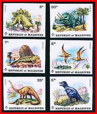 Maldives 1972 Dinosaurs SC.#389-94 Imperf MNH CV.$24.25 (for perf) REPTILES