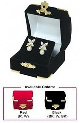 New 1-5-10- 24-48-96-144 pcs Red or Black Velvet Gilt Earring Jewelry Gift Boxes
