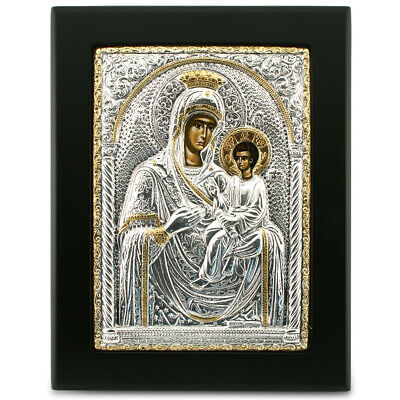NEW Clarte Icon Holy Virgin Mary Leading Gold 14x19cm