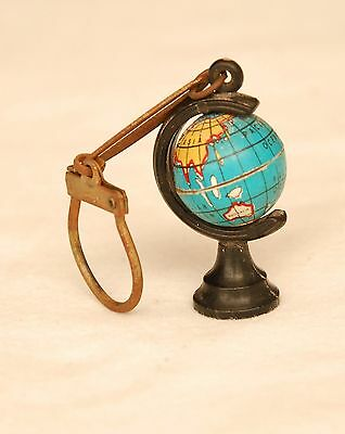 Vtg Old Spinning Earth Globe Keychain Key Ring Collectible Rare