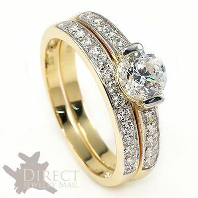 9ct REAL GOLD 1ct Round Cut Created DIAMOND ENGAGEMENT Ring Bridal Set Full Size