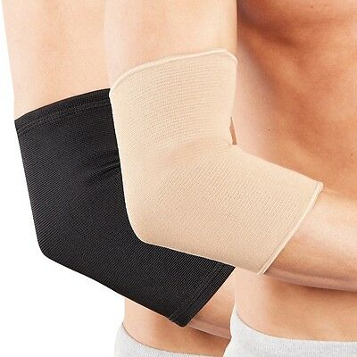 Elbow Support Sleeve for Arm Pain Injury Work Gym Sport Black Beige by Actesso