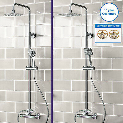 Round Or Square Twin Head Thermostatic Shower Mixer Chrome Bathroom Bath Unit