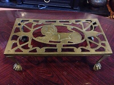 Delightful Antique Brass Lion Trivet With Lion Paw Feet
