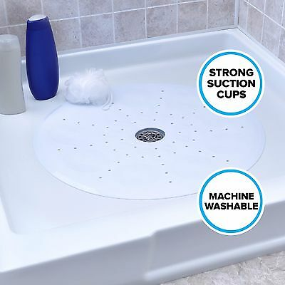 "Round Shower Mat with Suction Cups: 23"" Diameter, White Mat by SlipX Solutions"