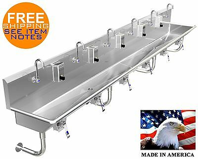 "Multi Station 6 User Hand Sink 132"" Lavatory (2) 2"" Npt Drains, Made In America"
