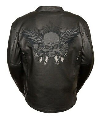Men's Motorcycle Motorbike Pure Leather Jacket Reflective Skulls/ Wings Black