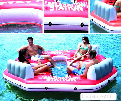 Inflatable Floating 4 Person Lake Island Raft Relax River Ocean Tube Pool -Party