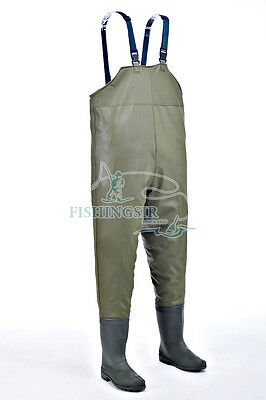 Khaki Chest Bootfoot Fishing Waders Nylon PVC Waterproof Wadering Boots HOT SALE